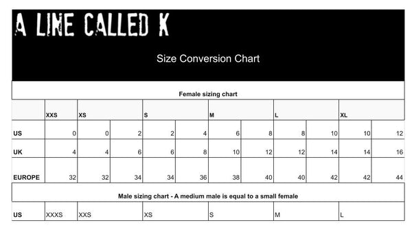 A Line Called K Sizing chart
