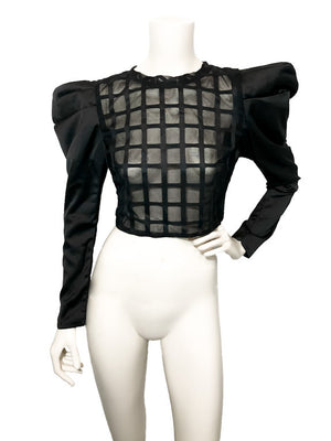 Sheer Windowpane and Satin Sleeve Top