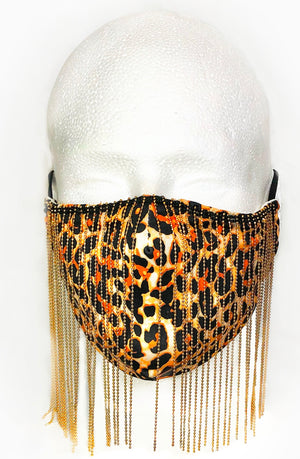 Leopard with Gold Chain Fringe Mask