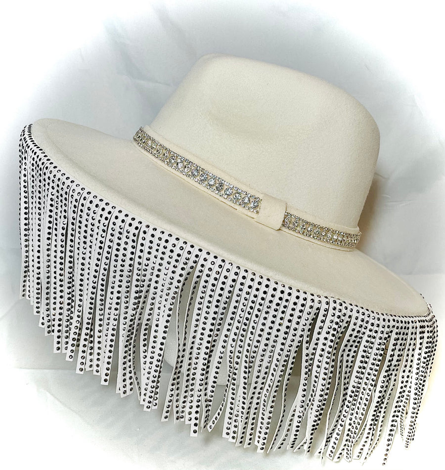 Cream Wool Hat with Vegan Leather Studded Fringe and Rhinestone Detail
