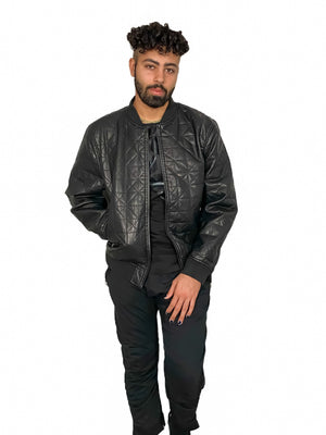 Quilted Bomber Jacket, Vegan Leather