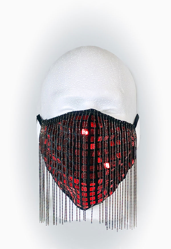 Red Disco Square with Metal Fringe Mask
