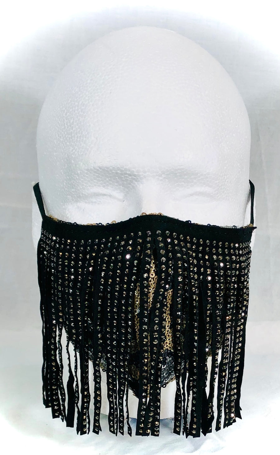 Vegan Leather Studded Fringe with Gold/Black Sequin Mask
