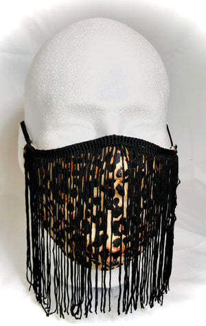 Leopard with Black Fringe Mask