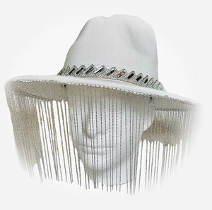 White Wool Hat with Chain Fringe and Crystal Trim Detail