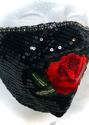 Black Sequin Embroidered Rose with Black Rhinestone Trim