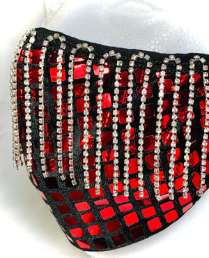 Red Disco Square with Crystal Fringe Mask