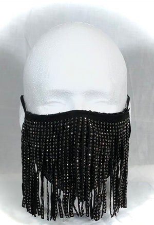 Vegan Leather Studded Fringe with Black Sequin Mask
