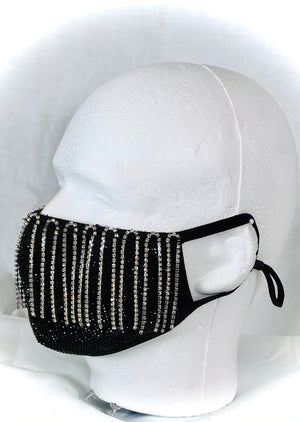 Black Crystal Mask with Crystal Fringe