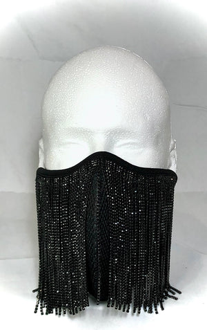 Ultra Protective, High Tech Black Crystal Fringe Mask