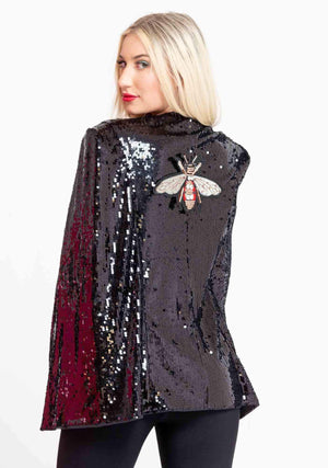 Bejeweled Bee Cape Coat-Outerwear-A Line Called K