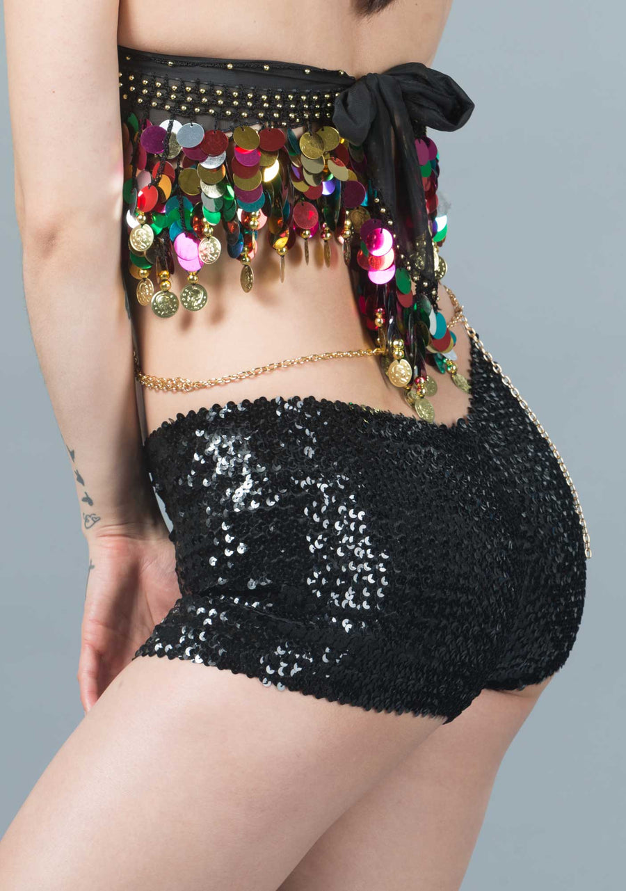 Sequin Hot Pants-Shorts-A Line Called K-Iridescent White-A Line Called K