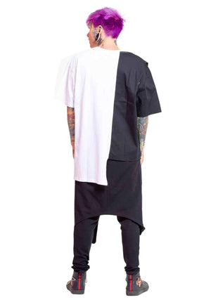 Oversized unisex top, Colorblock top, Yohji Yamamoto style shirt, cotton colorblocked unisex shirt, club clothes, high end shirt, designer fashion shirt, european runway style, high end fashion, designer shirt, breakdancing top, dance clothes, rave wear,