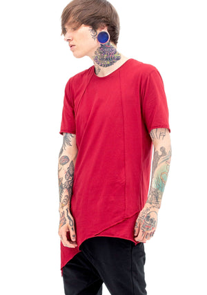 Crimson T Shirt, Tee Shirt, Red Shirt, Asymmetrical, Siren, Avant-Garde, Unisex Clothing, Unisex, Oversized Shirt, Lightweight, Spring Arrivals, Men's Tops, Night Out, Trending Fashion