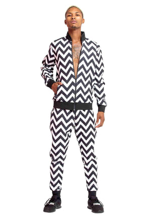 Black and White zig zag, Black and White zig zag tracksuit, breakdancing tracksuit, club tracksuit, dancing tracksuit, modern tracksuit, futuristic tracksuit, breakdancing tracksuit, club clothes, dancing clothes, festival wear, festival clothes, club gea