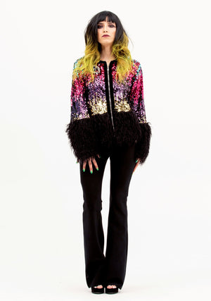 Glam Jacket, Festival, Multicolor Sequin Jacket, Cat Patch, Cat Sequin, Pink, Blue, Sequins, Fesival Sequin Jacket, Unisex Fashion, Unisex Clothing, New Arrivals, Women's Fashion, Women's Outerwear, Avant-garde