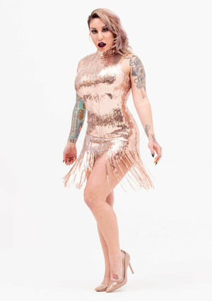 Glitter Fringe Dress, Night Out, Dress, Rose Gold, Sequins, New Arrivals, Glitz and Glam, Sequin Dress, Glitter