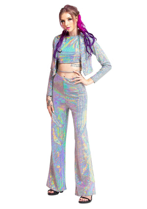 Holographic Pixels Jacket-Jumpsuit-A Line Called K, Holographic Two Piece Set, Laced up Holographic Halter top,  Holographic Pixels, Two Piece Set, Comfort Glam, Rave Clothes, Dancewear, Festival Wear, Dancing, Shimmering Clothes