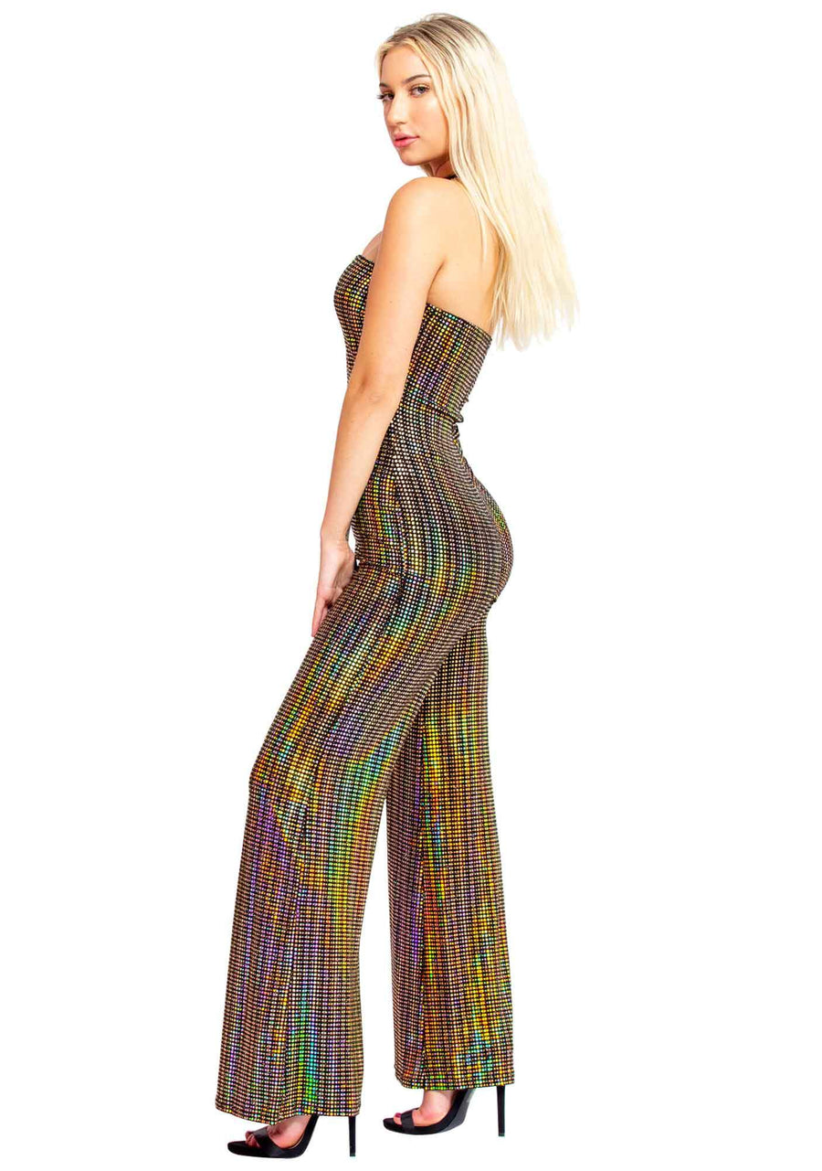 Stretch Knit, Neon Lights, Christmas Lights, Sweetheart Neckline Jumpsuit, Gold and Neon Lighted Jumpsuit, Sexy Holiday Jumpsuit, Cocktail Jumpsuit, New Years Outfit, Holiday Jumpsuit, Sexy, Feminine
