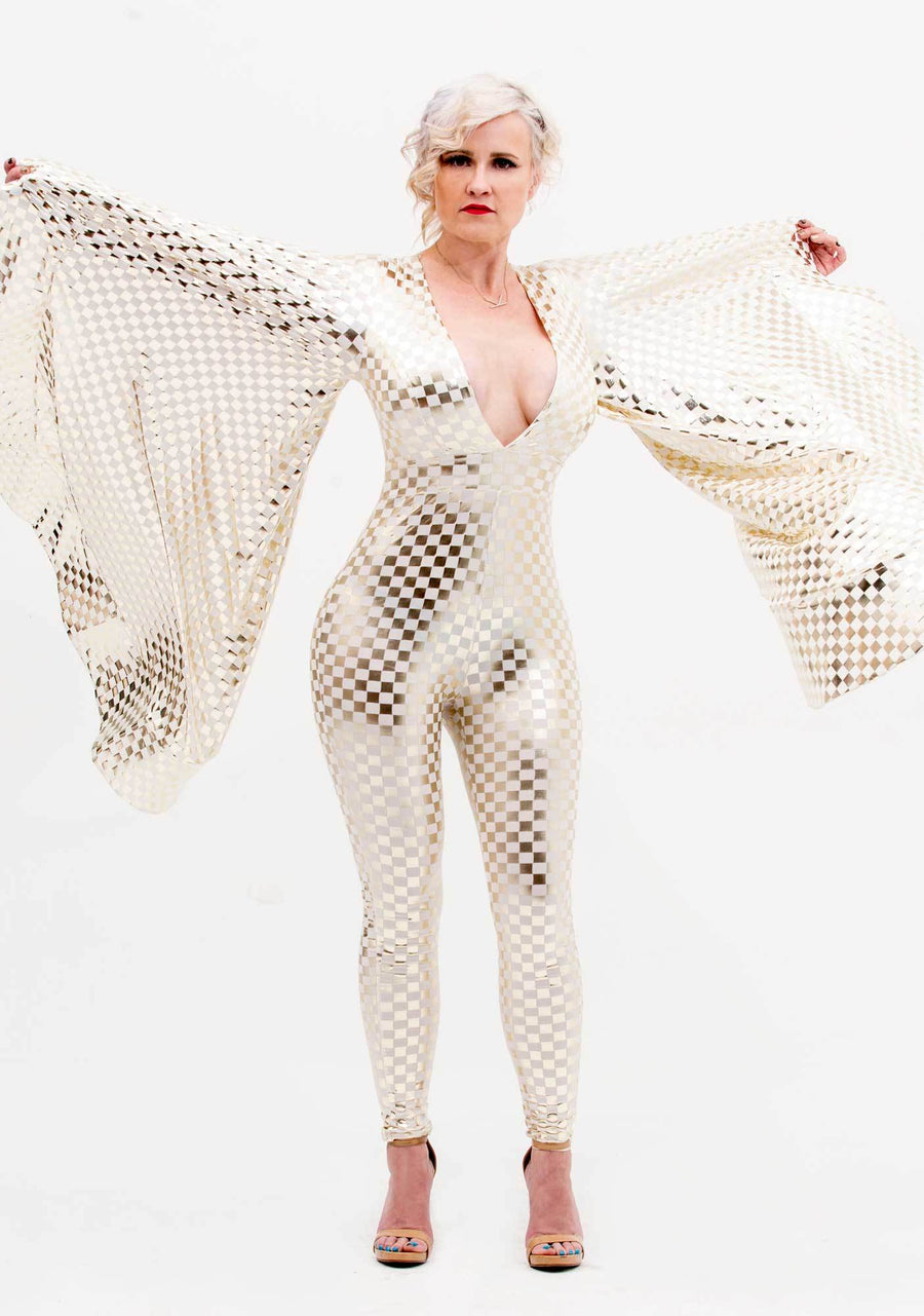 Checked Jumpsuit, Jumpsuit, Shiny Gold and White Jumpsuit, Gold and White, Avant-garde, Festival Outfit, Sci-Fi, Skin Tight Jumpsuit, Biker Jumpsuit, Checkered, Metallic Gold Jumpsuit, Cyberdelic, Unisex Clothing, Mens Fashion, Womens Fashion
