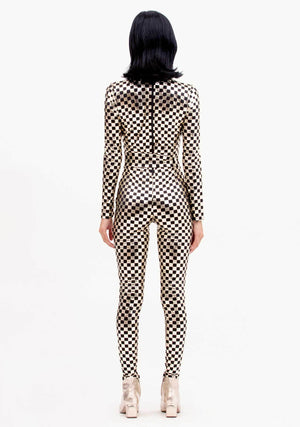 Checked Jumpsuit, Jumpsuit, Shiny Gold and Black Jumpsuit, Gold and Black, Avant-garde, Festival Outfit, Sci-Fi, Skin Tight Jumpsuit, Biker Jumpsuit, Checkered, Metallic Gold Jumpsuit, Cyberdelic, Unisex Clothing, Mens Fashion, Womens Fashion