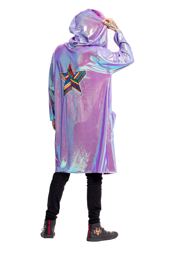 Boxer Robe, Pink with Holographic Lavender, Lightweight Jacket, Festival jacket, Club wear, Street Wear, Party Wear, Dancing, Be A Star, Rainbow Glitter Star