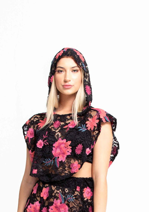 Floral Embroidered VR Hood-Outerwear-A Line Called K