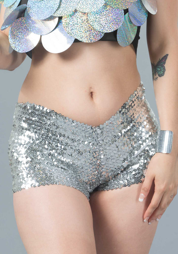 Sequin Hot Pants-Shorts-A Line Called K-Silver-A Line Called K