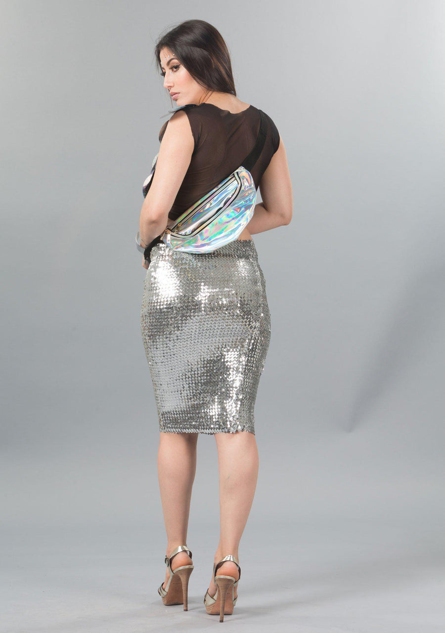 Sequin Pencil Skirt-Skirt-A Line Called K-Silver-A Line Called K