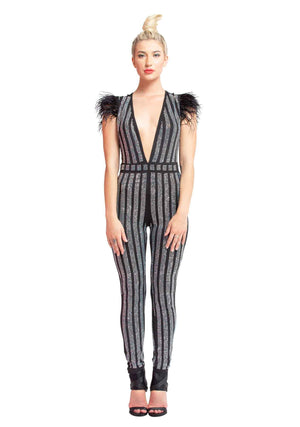 Crystal studded jumpsuit with featherd cap sleaves,  Hard Rock, Rockin Holidays, Studded Jumpsuit, Holiday Jumpsuit, Jumpsuit with Crystals, Club wear, Cocktails, Holidays, Dancing, Festivals