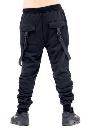 Tacticle Slouch Joggers, Straps, Pants with hanging Straps, Mens Fashion, Unisex, Men's Bottoms, Black Joggers, Fashion Trends, Desert Gear