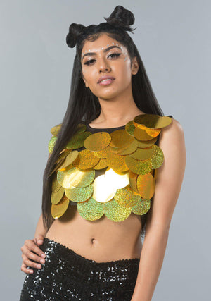 Women's Big Sequin Halter Top - Gold, Pink, Silver, Green, Blue - Festival, Burning Man, Mesh Back