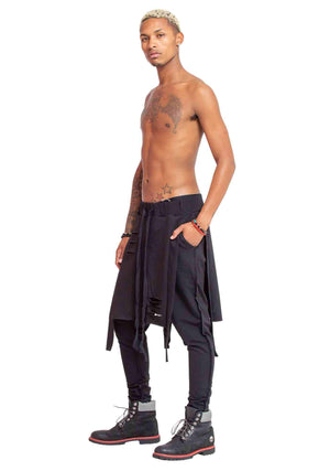 Skirted pants, men's harem pants with skirt, harem pants with skirt front and back, skirted harem pants, skirted joggers, unisex pants with skirt, women's pants with skirt, slashed skirt pants, breakdancing pants, club pants, club clothes, club gear, DJ p