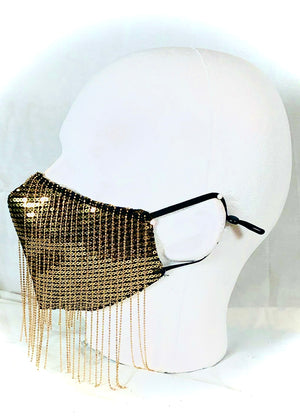 Gold Sequin with Gold Chain Fringe Mask