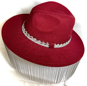 Deep Red Wool Hat with Chain Fringe and Crystal Detail