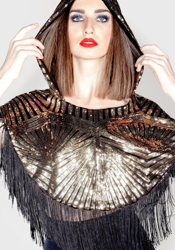 gold sequin fringe poncho, gold sequins, art deco, hooded fringe poncho, gold fringe poncho, fringe poncho, holiday, fall