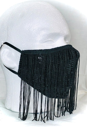 Black Sequin with Black Fringe Mask