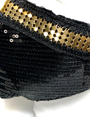 Black Sequin with Gold Chainmail Detail Mask