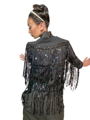 Black Beauty, Sequin fringe zip up jacket