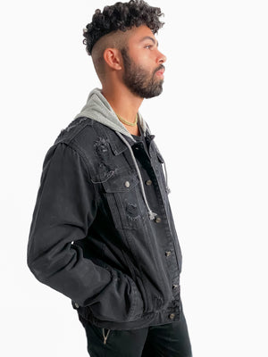 The Go-To Distressed Jean Jacket with Hood