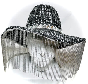 Black/White Wool Knit Hat with Crystal Trim and Chain Fringe