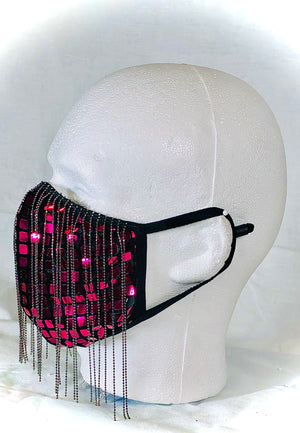 Pink Disco Square with Silver Chain Mask