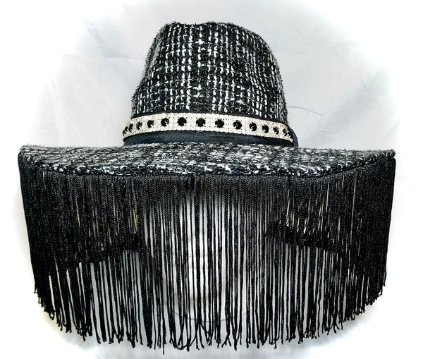 Black/White Knit Wool Hat with  Black Fringe and small Diamond Trim