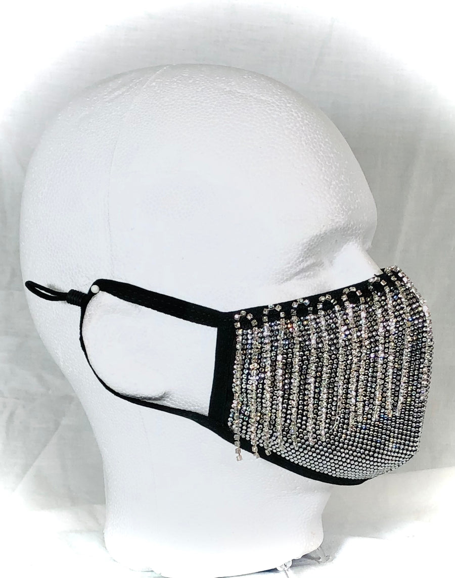 Crystal Covered Mask with Rhinestone Fringe
