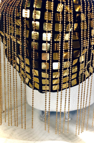 Gold Disco Square with Gold Chain Fringe Mask