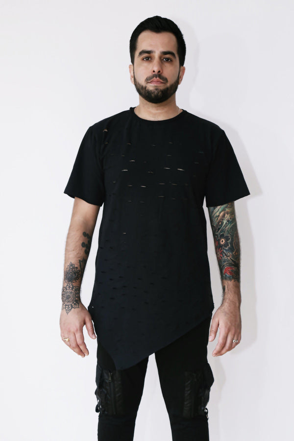 Damaged-T-Shirts-A Line Called K-S-Black-100% Cotton-A Line Called K