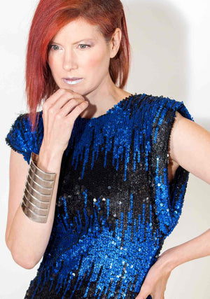 Electric Rock-Dresses-A Line Called K-S-Black & Blue-100% Polyester-A Line Called K