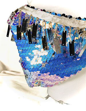 Iridescent White/Blue Sequin with Mirror Tassel Fringe Mask