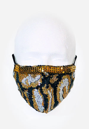 Gold/Black/White Sequin with Gold Chainmail Detail Mask