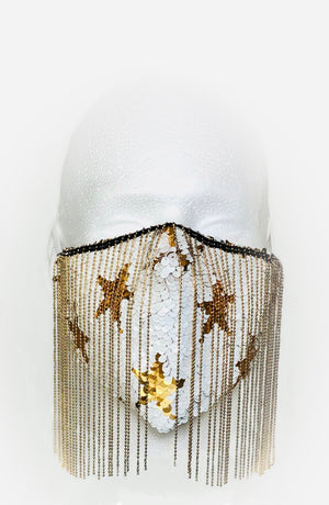 White/Gold Flip Sequin with Gold Chain Fringe Mask